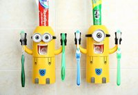 Wholesale New Cute Toothbrush Holder Despicable Me Minions Design Set Cartoon Toothbrush Holder Automatic Toothpaste Dispenser with Brush Cup
