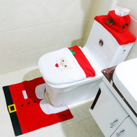 bathroom tank covers - Christmas Santa Claus Toilet Tank Lid Cover Mats Toilet Seat Cover Rug Bathroom Set Holiday New Year Supplies Baubles Decoration