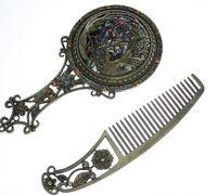 Wholesale 2015 Classic copper mirror set Rhinestone Retro Ladies Makeup Compact Pock Hand Held Mirror Hair Comb Set