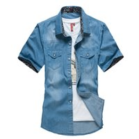 short dress with jeans - Water Wash Man Jeans Shirt Short amp Short Sleeve European Style With Pocket Solid Color Fold Denim shirt amp camisa For