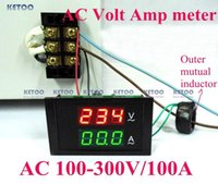 Digital Only 70X40X32mm Electrical Free shipping AC80-300V AC 0-100A Led volt amp meter voltage meter current meter ampere panel meter voltmeter ammeter digital