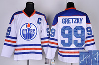 autographs sale - Autographed Oilers Wayne Gretzky Hockey Jerseys White CCM Vintage Throwback Jersey Ice Hockey Jerseys Cheap Mens Hockey Wear Hot Sale