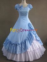 Wholesale Civil War Costumes For Women Adult Southern Belle Costume Blue Victorian Dress Ball Gown Gothic Lolita Dress Plus Size V062