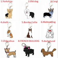 Wholesale 25MM DIY Enamel pet collar tag jewelry alloy dog charm pendants Bulldog golden retriever Tidy Samoyed Pug Husky Dachshund Corgi