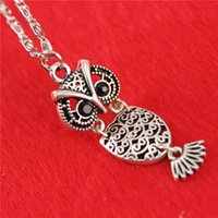 Wholesale Owl Pendant Necklaces silver Vintage Necklace Rhinestone eye retro cute owl pendant necklace owl carve hollow necklace