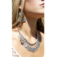 copper coins - 2015 Hot Fashion Vintage Girls Jewelry Turkish Bohemian Silver Statement Tassel Copper Coin Necklace
