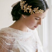 Wholesale 2015 Athena Grecian Leafs Headpieces Gold Pearls Crystals Bridal Hair Accessories Bridel Hair Wreath