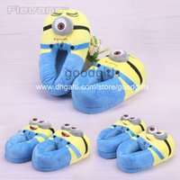 Wholesale Anime Cartoon Despicable Me Minions Plush Shoes Home House Winter Slippers for Children Kids Slippers ANSE029