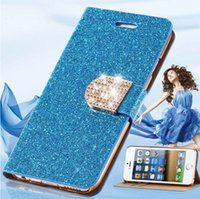 Cheap For iPhone 6 6S iphone 6s plus Case Luxury Glitter Bling Crystal Diamond PU Leather Wallet Bling Cover Case Galaxy S5 S6 S6 Edge iPhone 5