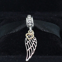 14k real gold - 925 Sterling Silver K Real Gold Angel Wing Dangle Charm Bead Fits European Pandora Jewelry Bracelets Necklaces