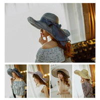 Wholesale 2015 day and night sunshade ladies Summer sun hats Cotton Sunscreen caps whit Bow for women beach Large brimmed hat Foldable Bohemian style