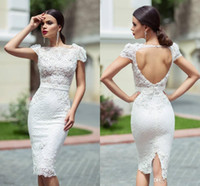 Wholesale 2016 Cristallini Reception Dresses Unique Custom Knee Length Lace Sheath Cap Sleeves Hollow Back Behind Split Short Garden Wedding Dresses