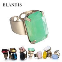 gemstone rings - Big Gemstone rings for women ancient elastic adjustable Copper rings sets of fashion statement more colors high quality RG02700