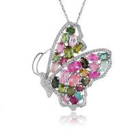 Wholesale Color tourmaline tourmaline pendant butterfly pendant necklace pendant silver jewelry Haiyangzhixin