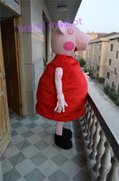 Wholesale The most popular Christmas Halloween Red pig cartoon costumes for Halloween party supplies adult size mascot
