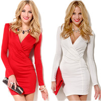 Wholesale Sexy Women Bodycon Dress Vestidos Top Quality Deep V Neck Long Sleeve One piece Casual Mini Dress White Red Star Style G0717