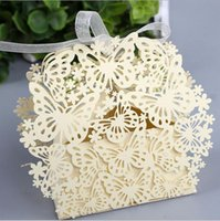 Wholesale Hollow Butterfly Flower Wedding Day Candy Box with ribbon Party supplies packaging gift paper boxes creative favor holders candy boxes