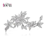 american apparel flower - Teemi Brooch Pins High Quality AAA Clear Cubic Zircon Flower Wedding Apparel Dress Bouquet for Wedding Top Quality Bridal Jewelry White Gold