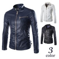 Wholesale 2015 New Arrival Zipper Motorcycle Leather Jackets Men Outwear Casual Slim Fit PU Mens Leather Jacket Coat