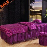 beauty stools - Home Textiles Polyester Health Care Beauty Salon Bed Bedding Set Duvet Cover Bed Skirt Pillow Case Stool Case Fast Shipping