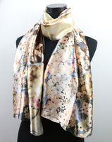 Wholesale 1pcs Royal Brown Plum Flower Women s Fashion Satin Oil Painting Long Wrap Shawl Beach Silk Scarf X50cm
