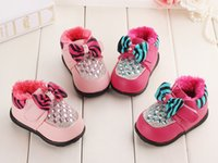 Wholesale Baby Girls Shoes New Kids Warm Boot Children s Boot Rhinestone Bowknot Minnie Mouse Shoes Girl Prewalker Kids Shoes Rose Red Pink A1803