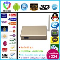 Wholesale MIBOX M11 Arabic IPTV Box XBMC Dual core Android Arabic Channel Smart tv box surpass rk3288 WiFi HDMI no monthly pay