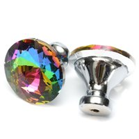 Wholesale Colorful Drawer Door Knobs Cupboard Wardrobe Diamond Crystal Shape Glass Alloy Cabinet Furniture mm Handle Pull