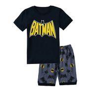 Spring/Autumn batman pjs - New dark grey batman cartoon children short sleeve pajamas set girls boys sleepwear pjs suit baby s clothing set kid pjs nightwear
