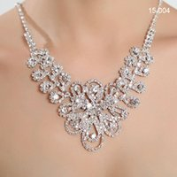 beaded bridesmaid jewelry - Cheap Necklace Sets with Earrings Bling Beaded Wedding Jewelry Accessories Shoulder Chain Christmas Gift Discount Bridesmaid Bridal