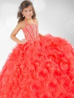 girls pageant dresses size 10 - 2014 Newest Coral Organza Halter Ruffles Crystals Beaded Flower Girl Ball Gown Pageant Dresses Custom Made Size