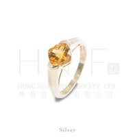 Cheap Solitaire Ring Silver Best simple design Unisex citrine ring
