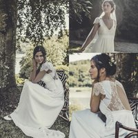 Wholesale Vintage Chiffon Lace Wedding Dresses V Neck Cap Sleeves Hollow Out Backless Empire Long Beach Bridal Gowns Custom Made