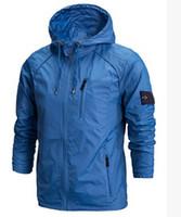 Wholesale fast shipping new stone autumn mens jacket bomber jacket and coat stone blue island jacket with hat