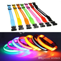 Wholesale LED Pet Dog Collars Adjustable Flashing Stripe Nylon Night Glow Light Up Training Leashes Colorful Dog Supply New Christmas Free DHL Factory