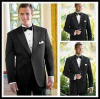 boys brown suit - Custom High Quality Modern Satin One Buttons Black Groom Tuxedos Men Wedding Suits Jacket Pants Bow Vest Slim Fit Suit Boys