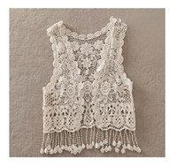 Wholesale Sexy Beach Embroidery Vintage Retro Sweet Cute girls Crochet Floral Hollow Lace Vest outwear Slim Bohemia Tank Top Blouse For Women