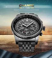 Wholesale cool black stainless steel wrist Watches Men luxury band fashion gear dial calendar male quartz clock high quality men s watch