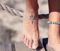 Wholesale Chic Beach Barefoot Sandals Anklet Chains Pair Retail Anklets Chain Sandbeach Wedding Bridal Bridesmaid Foot Jewelry