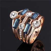 Cheap Fashion Jewelry Blue Black Stone Zircon Ring Gold Plated Wedding Anel O for Women Fashion Jewelry Accessories Size 5.5-9