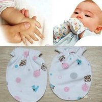 Wholesale Pair Cotton Newborn Infant Anti grasping Face Cartoon Gloves Baby Items Color Random BB Random