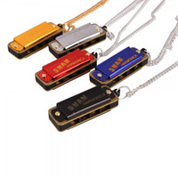 Wholesale 5 Set Color Beautiful Swan Necklace Style Mini Harmonica Hole Tone Golden Silver Red Blue Black