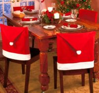 Wholesale Red Santa Claus Hat Chair Covers Christmas Dinner Table Party Indoor Christmas Decorations Ornaments Supplies For