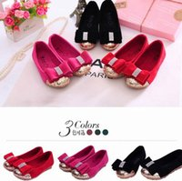 Wholesale 2015 Spring Autumn New Children Girls Korean Style Candy Color Paillette Princess Shoes Kids Lace Bow Leisure Shoes Red Black Rose