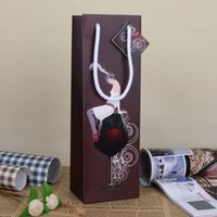 art print bag - Elegant Color Wine Bag European Girl Print Paper Art Gift Bag Christmas Party Decoration Gift Wrap SD774
