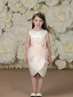 Wholesale Lovely Peplum Flower Girls Dresses For Wedding Jewel Neckline Kid Gowns Knee Length Little Girl Pageant Dress With Hand Made Flower Sash