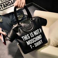 big fashionable bags - European new fashionable female personalized clothes PU big black white T shirt bag