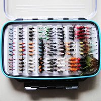 trout lures - Wet and Dry Flies Freshwater Fly Fishing Lures with Fly Clear Waterproof Box Trout Bait Fishing Equipment