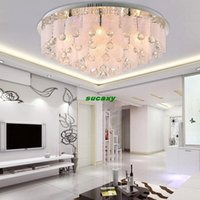 Wholesale Modern Luxury Round K9 crystal LED ceiling light remote control for living room Bedroom Study factory off