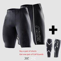 basketball shorts - 2xu Compression Men Black Tights Shorts Gym Outdoor sports Polyester lycra Bodybuilding Mens Basketball a FREE Pair Leggings